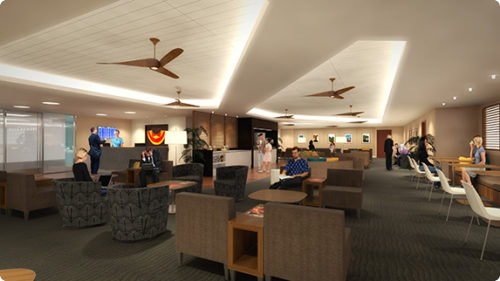 Rendering of a renovated Hawaiian Airlines Premier Club