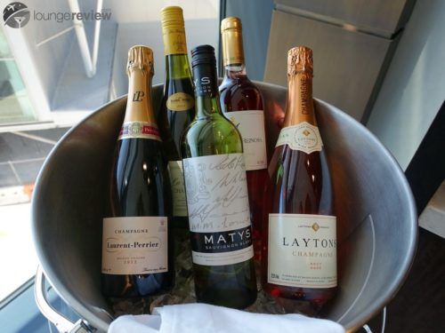 Chilled wine selection at the United Global First Lounge - London Heathrow (LHR)