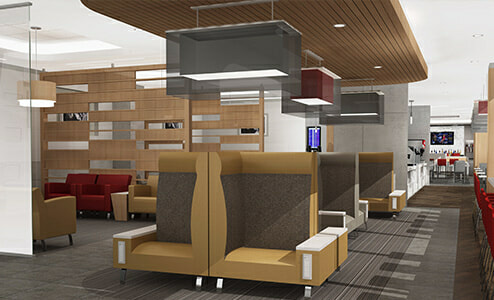 Rendering of the future American Airlines Admirals Club - Houston, TX (IAH) | Courtesy of American Airlines