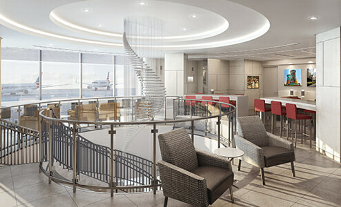 Rendering of the future American Airlines Admirals Club - Orlando, FL (MCO) | Courtesy of American Airlines