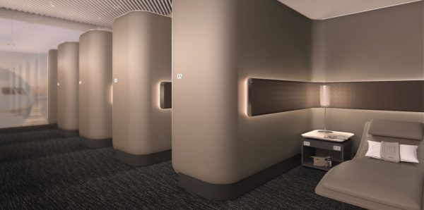 Relaxation pods at the United Polaris Lounge | © United