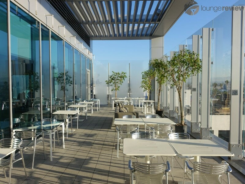 Open-air deck at the United Club LAX