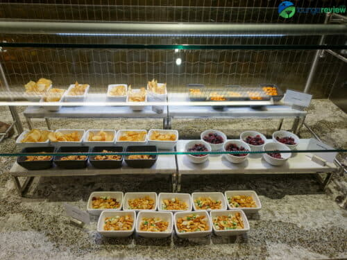 New buffet area at the expanded United Polaris Lounge Chicago O'Hare