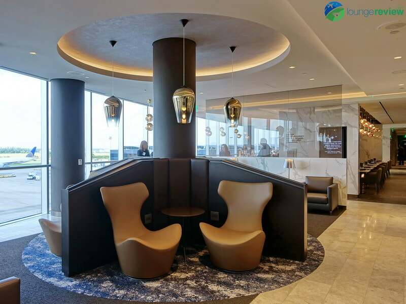 United Polaris Lounge Houston cradle seats