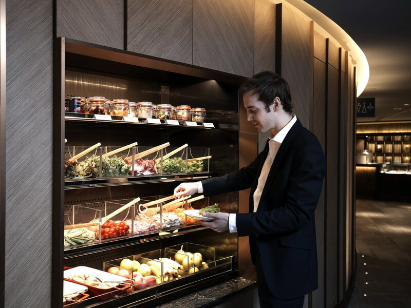 Salad bar at the Plaza Premium First Lounge - Hong Kong (HKG)