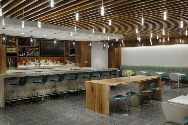 American Express The Centurion Lounge Dallas-Ft. Worth (DFW) bar and dining area