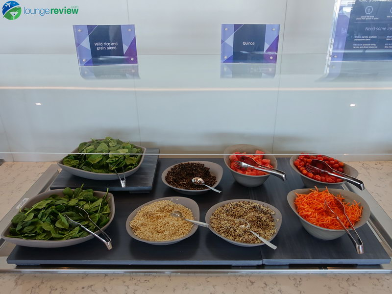 Salad and grains at the United Club LAX