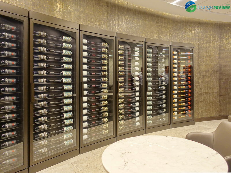 United Polaris Lounge wine wall and storage