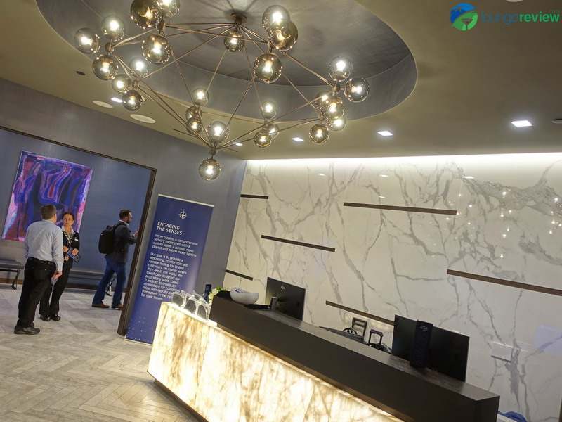 United Polaris Lounge LAX upper lobby and reception area