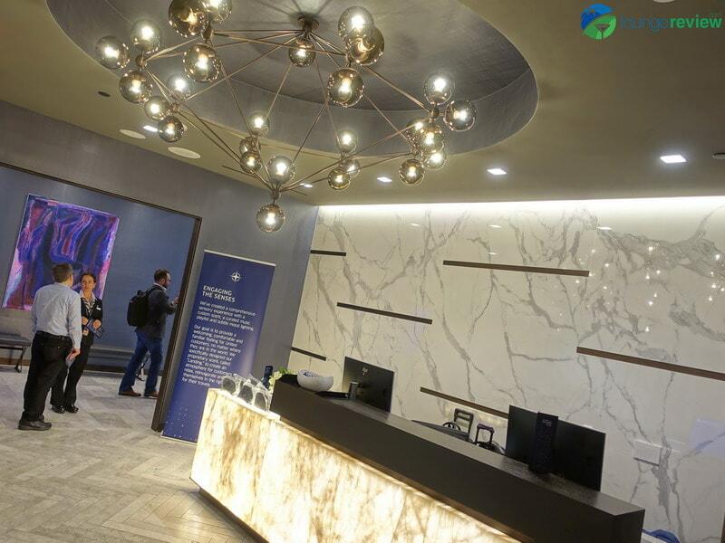 United Polaris Lounge LAX upper lobby and reception area