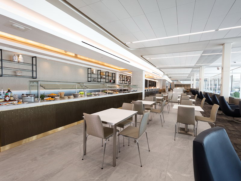 Buffet area at the new United Club New York LGA