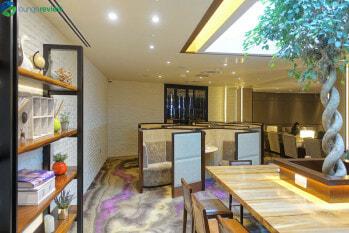 Plaza Premium Lounge London Heathrow Terminal 4 honeycomb seating and work area